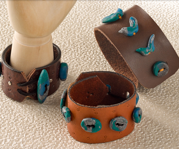 "Upcycled Leather and ""Turquoise"" Cuff Bracelet"