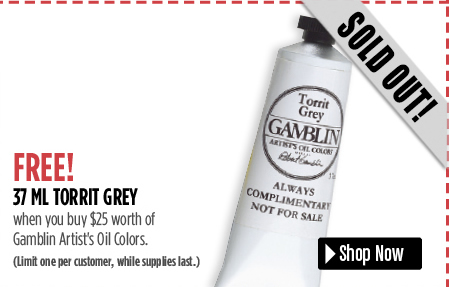 Free 37ml Torrit Grey when you buy 25 worth of Gamblin products.