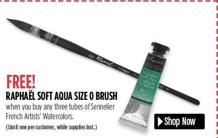 Free Soft Aqua size 0 brush when you buy any three Sennelier Watercolor