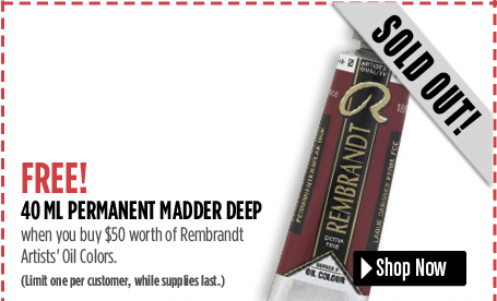 FREE Permanent Madder Deep 40 ml, when you buy 50 worth of Rembrandt Oils