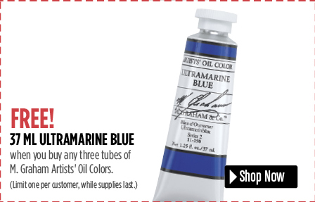 FREE! 37 ml Ultramarine Blue when you buy three 37 ml tubes of M. Graham Artists Oil Colors.