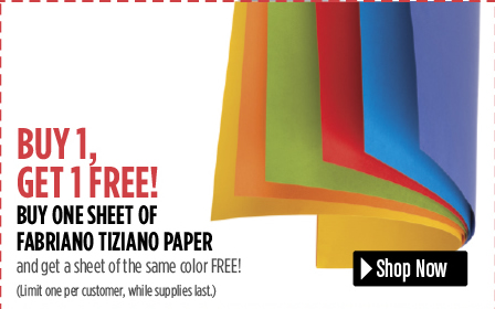 Special Value! Buy one sheet of Fabriano Tiziano Paper and get a sheet of the same color FREE!