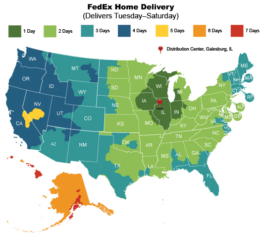 US FedEx Home Delivery Map