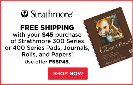 Free Shipping with your $45 purchase of Strathmore 300 Series of 400 Series Pads, Journals, Rolls and Papers!
