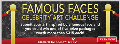 submit your art inspired by a famous face and you could win one of five prize packages worth more than 315 each