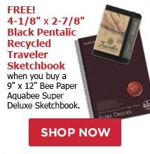 FREE! 4-1/8 x 2-7/8 Black Tentalic Travelers Sketchbook when you buy a 9 x 12 Aquabee Super Deluxe Sketchbook