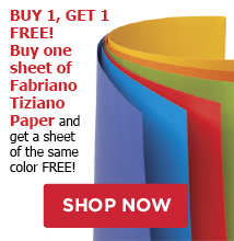 Buy 1 Get 1 Free! Buy one shee of Fabriano Tiziano Paper and get a sheet of the same color Free!