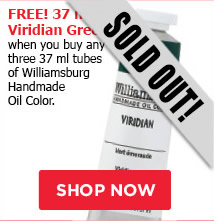 FREE! 37 ml Viridian Green when you buy any three 37 ml Wiliamsburg Oil Paints.