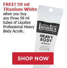 FREE! 2 oz Titanium White when you buy any three tubes of Liquitex Heavy Body Acrylic