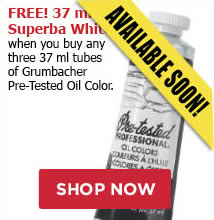 FREE! 37 ml Superba White when you buy any three 37 ml tubes of Grumbacher Pretested Oil