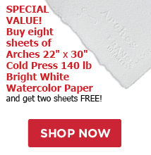 Special Value! Buy eight sheets of Arches 22 x 30 140 lb Bright White Cold Press Paper and recieve two sheets FREE!