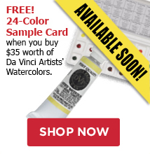 free 24 color sample card when you buy 35 worth of da vinci artist watercolors