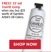 Free 37ml Torrit Grey when you buy 25 worth of Gamblin products