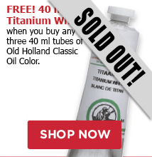 Free 40 ml Titanium white when you buy any three Old Holland Oil tubes.