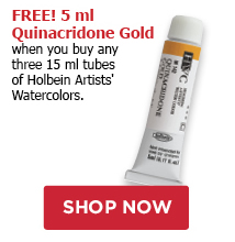 Free 5 ml Quinacridone Gold when you buy any three Holebin Artists' Watercolor Tubes