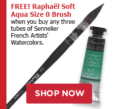 Free Soft Aqua size 0 brush when you buy any three Sennelier Watercolor tubes
