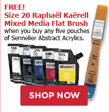 FREE! Size 20 Raphael Kaerell Mixed Media Flat Brush when you buy any five Sennelier Abstract Acrylics.