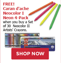 FREE! Caran dAche Neocolor I Neon 4-Pack when you buy a Set of 30 Neocolor II Artists Crayons.