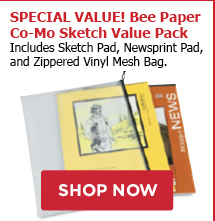 SPECIAL VALUE Bee Paper Co-Mo Sketch Value Pack includes a Sketch Pad, Newsprint Pad, and a Zippered Vinyl Mesh Bag