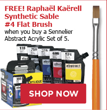 Free! Raphael Kaerell Synthetic Sable #4 Flat Brush when you buy a Sennelier Abstract Acrylic Set of 5