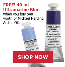 FREE 40 ml Ultramarine Blue when you buy $40 worth of Michael Harding Artists Oil Color