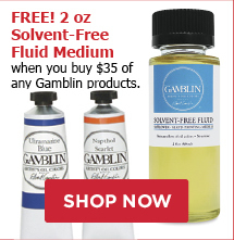 Free! 2 oz Solvent-Free Fluid Medium when you buy $35 of any Gamblin products.