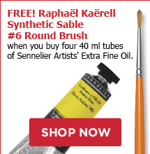 FREE! Raphael Kaerell Synthetic Sable #6 Round Brush when you buy four 40 ml tubes of Sennelier Artists Extra Fine Oil