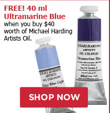 FREE! 40 ml Ultramarine Blue when you buy $40 worth of Michael Harding Artists Oil