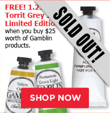 FREE 37 ml Torrit Grey 2016 Limited Edition when you buy $25 worth of Gamblin products.