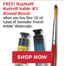 FREE! Raphael Kaerell Sable #5 Round Brush when you buy four 10 ml tubes of Sennelier French Artists' Watercolor