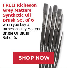 FREE! Richeson Grey Matters Synthetic Oil Brush Set of 6 when you buy a Richeson Grey Matters Bristle Oil Brush Set of 6