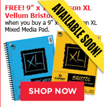 FREE! 9' x 12' Canson XL Vellum Bristol Pad when you buy a 9' x 12' Canson XL Mixed Media Pad