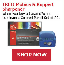 FREE! Mobius and Ruppert Sharpener when you buy a Caran d'Ache Luminance Colored Pencil Set of 20.