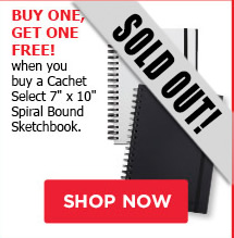 Buy One, Get One Free! when you buy a Cachet Select 7' x 10' Spiral Bound Sketchbook
