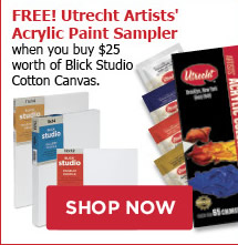 FREE! Utrecht Artists Acrylic Paint Sampler when you buy $25 worth of Blick Studio Cotton Canvas