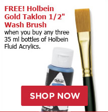 FREE! Holbein Gold Taklon 1/2 Wash Brush when you buy any three 35ml bottles of Holbein Fluid Acrylics