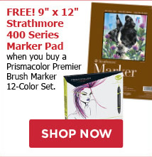 FREE! 9 x 12 Strathmore 400 Series Marker Pad when you buy a Prismacolor Premier Brush Marker 12-color Set.