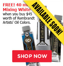 FREE! 40ml Mixing White when you buy $45 worth of Rembrandt Artists' Oil Colors