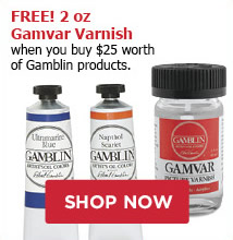 FREE! 2oz Gamvar Varnish when you buy $30 worth of Gamblin products