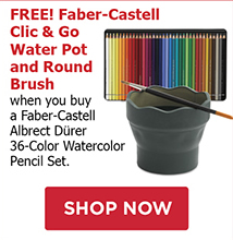 FREE! Faber-Castell Clic & Go Water Pot and Round Brush when you buy a Faber-Castell Albrecht Dürer 36-Color Watercolor Pencil Set.
