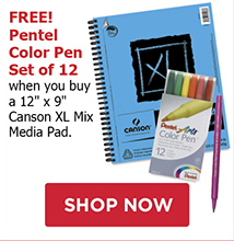 FREE! Pentel Color Pen Set of 12 when you buy a 12 x 9 Canson XL Mix Media Pad