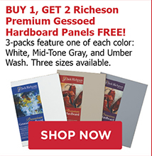Buy 1, Get 2 Richeson Premium Gessoed Hardboard Panels FREE! 3-packs feature one of each color: White, Mid-Tone Gray, and Umber Wash. Three sizes available.