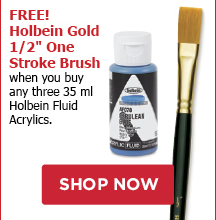 FREE! Holbein Gold 1/2 One Stroke Brush when you buy any three 35ml Holbein Fluid Acrylics