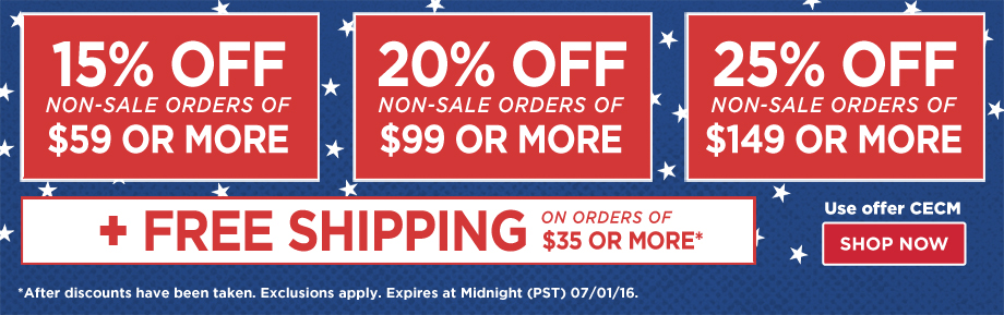 15% Off Orders $59 or 20% Off Orders $99 or 25% Off Orders $149 Plus Free Shipping on orders of $35 or more.