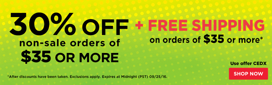 30% Off Orders $35 Plus Free Shipping on orders of $35 or more.