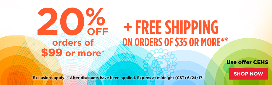 20% Off Orders $99 Plus Free Shipping on orders of $35 or more.