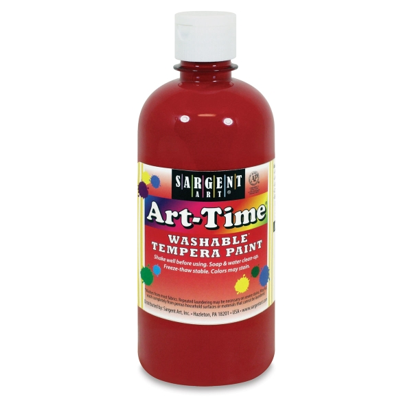 Art-Time Washable Tempera Paint, Red, 16 oz