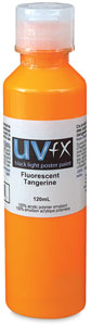UVFX Black Light Poster Paint, Fluorescent Tangerine, 120 ml size