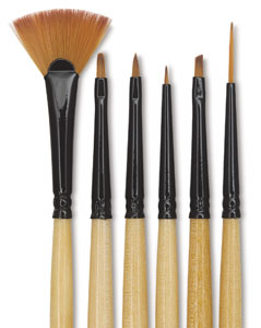Decorative Mini Detail Brushes, Set of 6