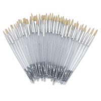 White Bristle, Assorted Rounds and Flats, Short Handle, Set of 60